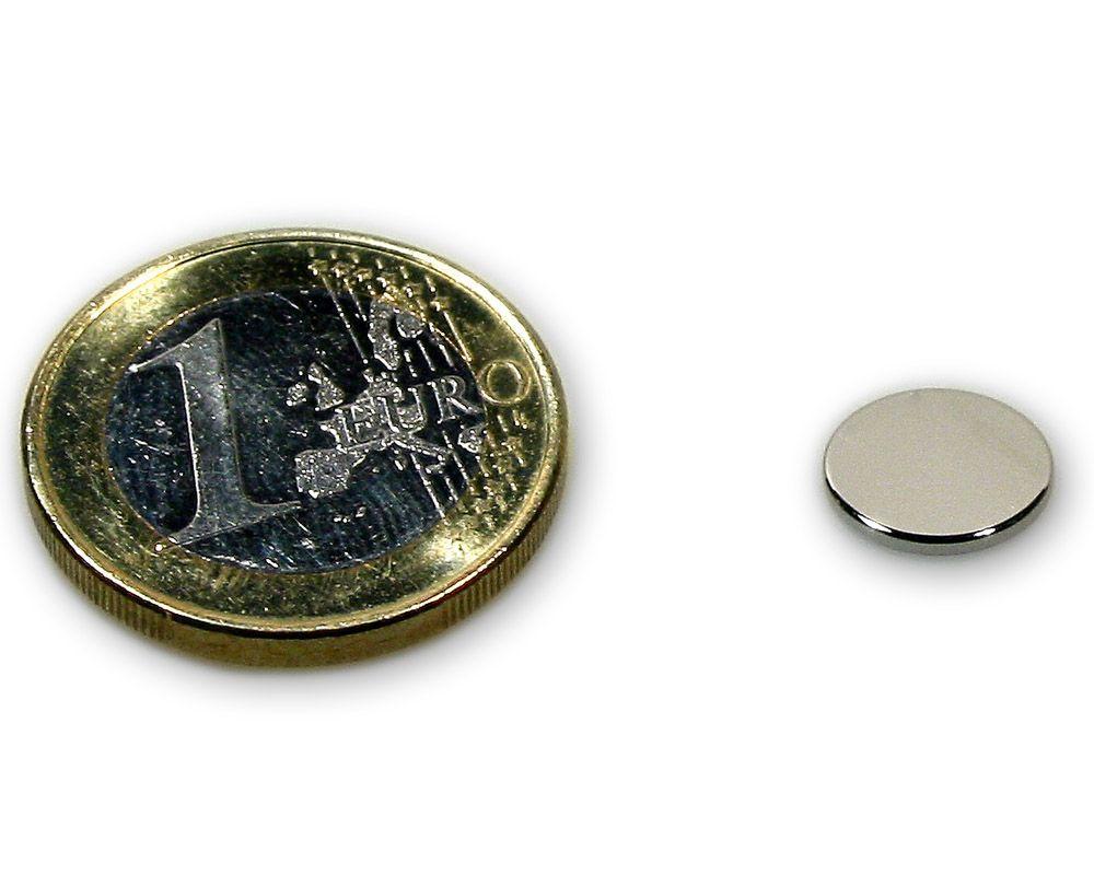 Scheibenmagnet Ø 10,0 x 1,0 mm Neodym N45 vernickelt - hält 900 g
