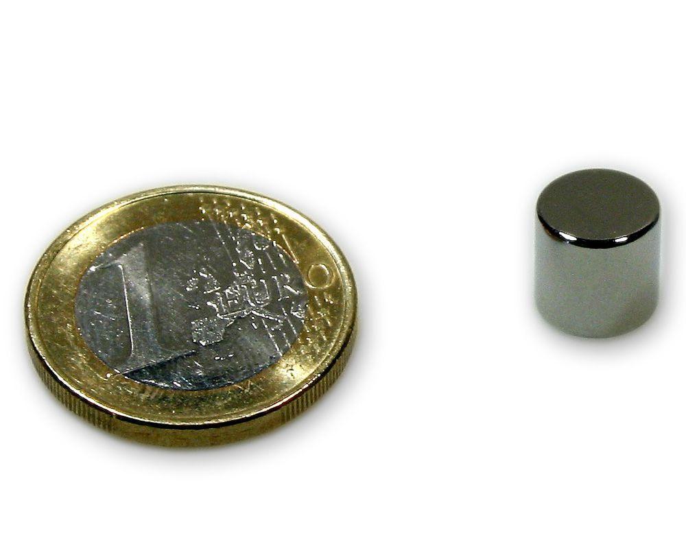 Scheibenmagnet Ø 9,0 x 9,0 mm Neodym N45 vernickelt - hält 3,0 kg