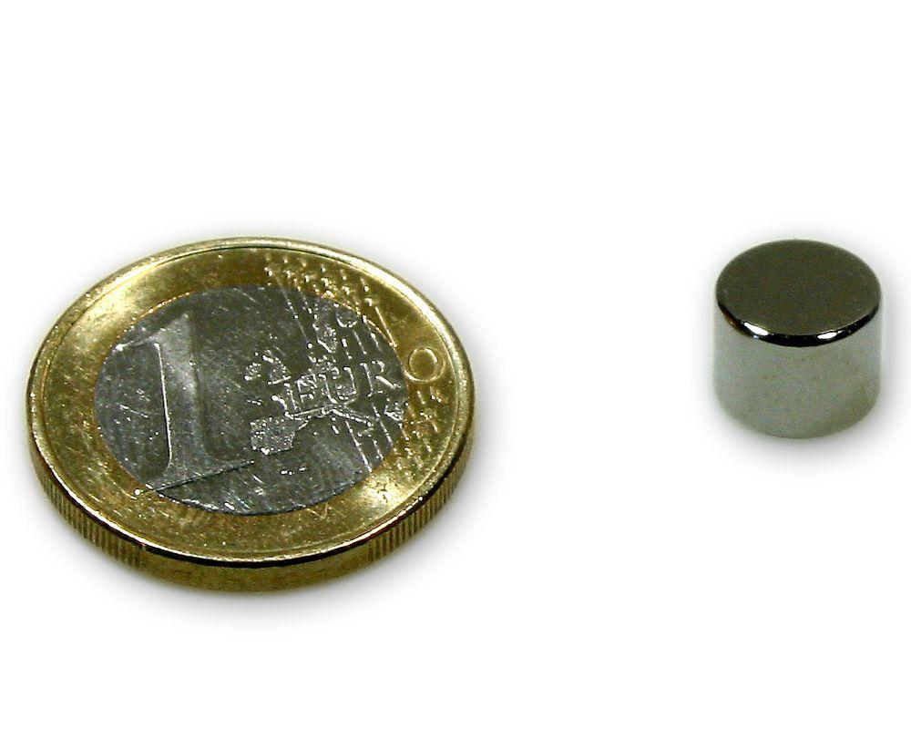 Scheibenmagnet Ø 9,0 x 7,0 mm Neodym N45 vernickelt - hält 2,7 kg