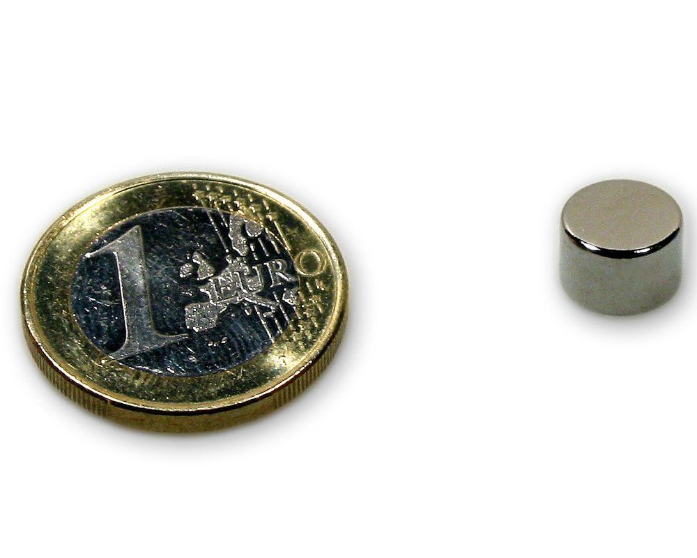 Scheibenmagnet Ø 9,0 x 6,0 mm Neodym N45 vernickelt - hält 2,5 kg