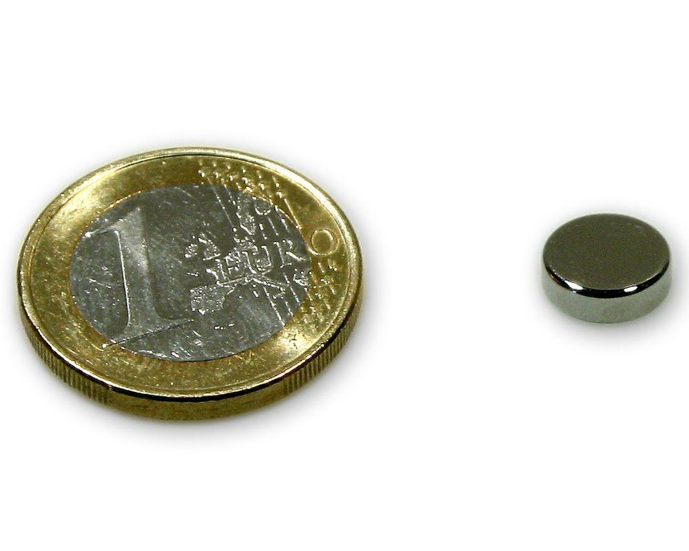 Scheibenmagnet Ø 9,0 x 3,0 mm Neodym N45 vernickelt - hält 1,6 kg