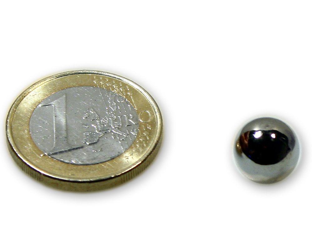 Magnetkugel / Kugelmagnet Ø 10,0 mm Neodym vernickelt N40 - hält 1,5 kg