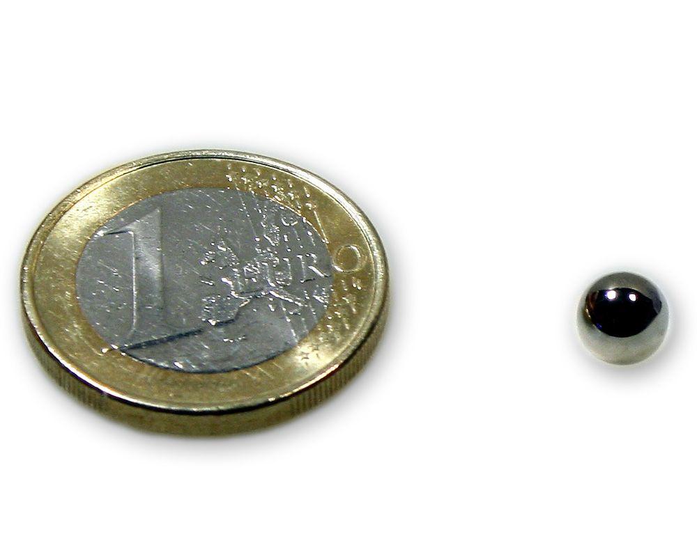 Magnetkugel / Kugelmagnet Ø 6,0 mm Neodym vernickelt N40 - hält 500 g