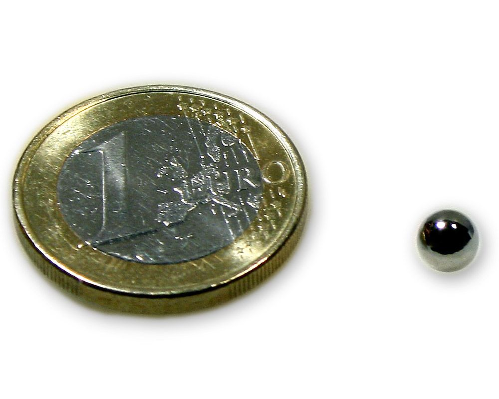 Magnetkugel / Kugelmagnet Ø 5,0 mm Neodym vernickelt N40 - hält 400 g