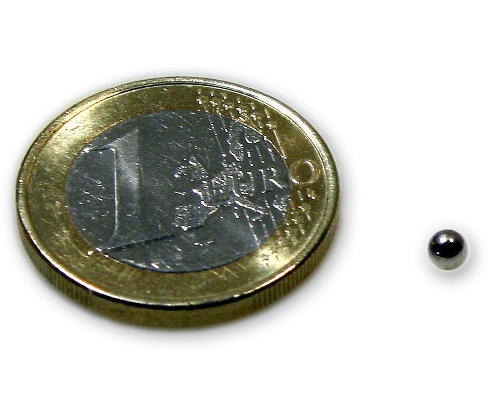 Magnetkugel / Kugelmagnet Ø 3,0 mm Neodym vernickelt N40 - hält 130 g