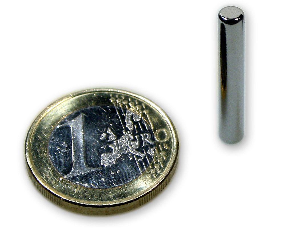 Stabmagnet Ø 4,0 x 25,0 mm Neodym N45 vernickelt - hält 650 g
