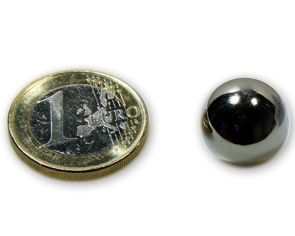 Magnetkugel / Kugelmagnet Ø 15,0 mm Neodym vernickelt N40 - hält 3,4 kg