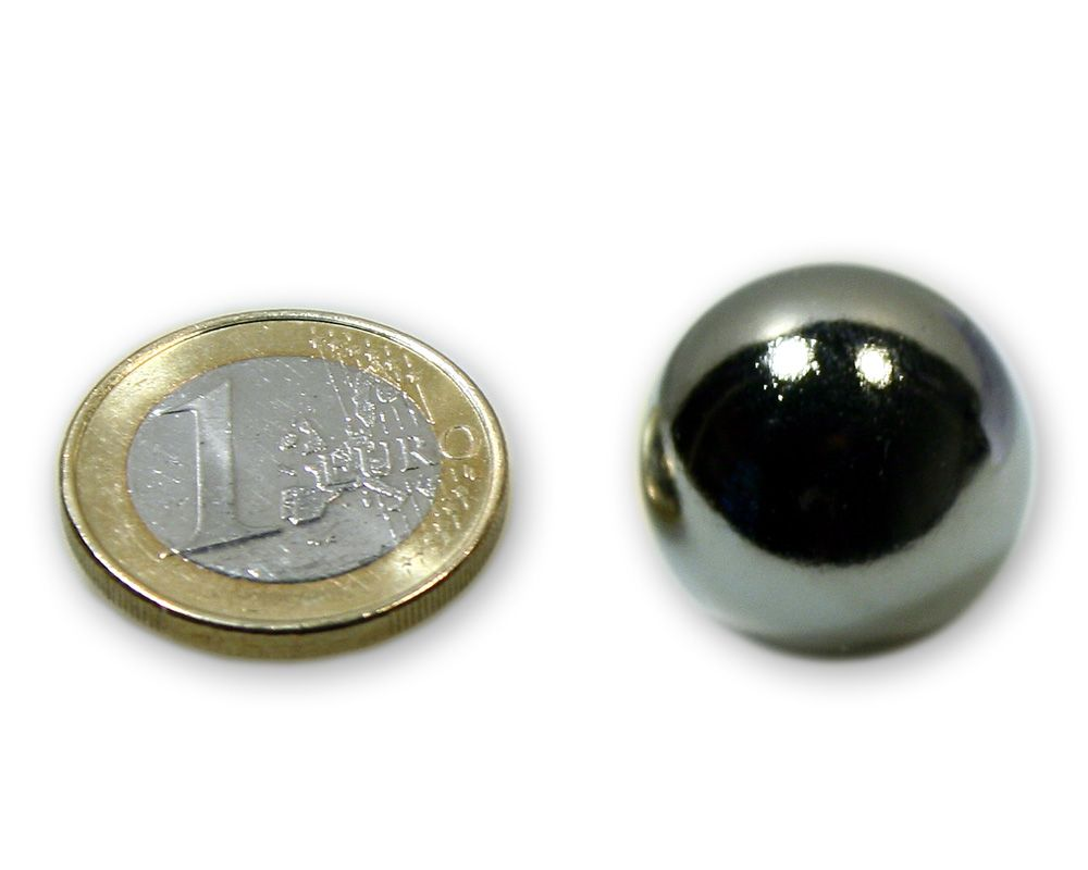 Magnetkugel / Kugelmagnet Ø 20,0 mm Neodym vernickelt N40 - hält 6,1 kg