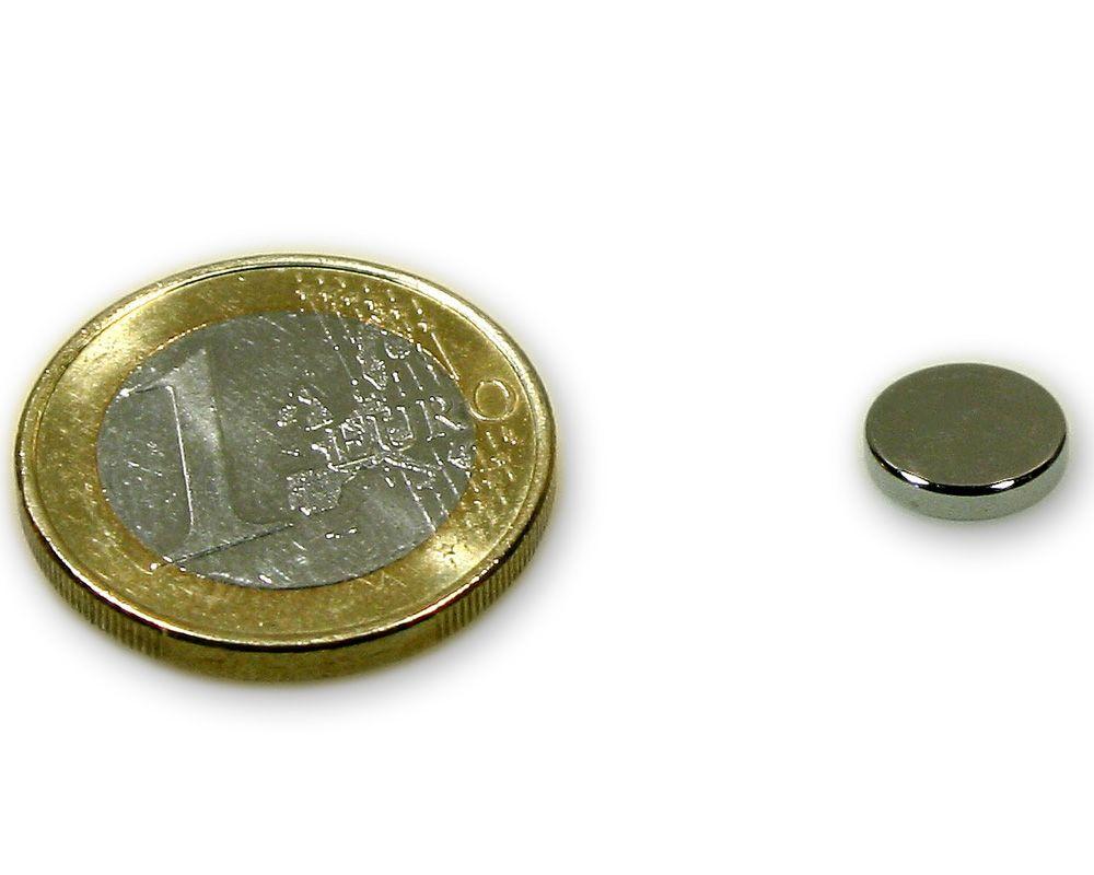 Scheibenmagnet Ø 9,0 x 2,0 mm Neodym N45 vernickelt - hält 1,2 kg