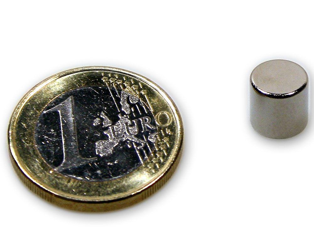 Scheibenmagnet Ø 8,0 x 8,0 mm Neodym N45 vernickelt - hält 2,8 kg