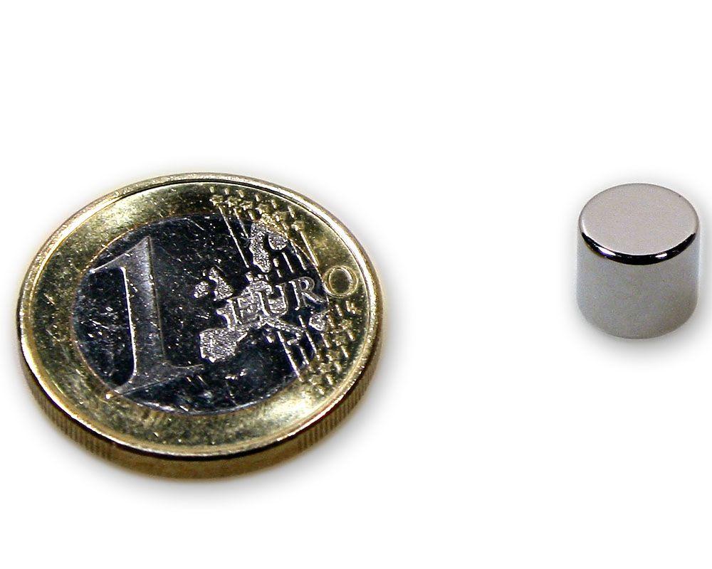 Scheibenmagnet Ø 8,0 x 7,0 mm Neodym N45 vernickelt - hält 2,8 kg