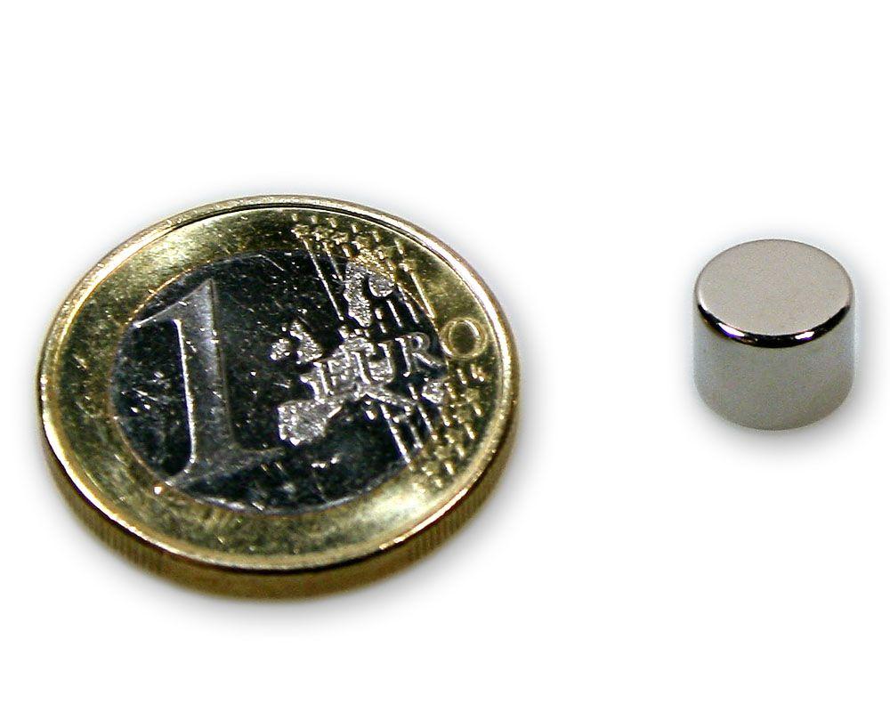 Scheibenmagnet Ø 8,0 x 6,0 mm Neodym N45 vernickelt - hält 2,6 kg