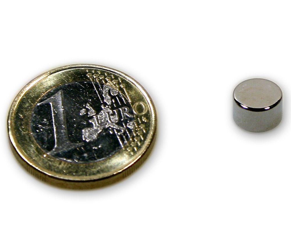 Scheibenmagnet Ø 8,0 x 5,0 mm Neodym N45 vernickelt - hält 2,5 kg