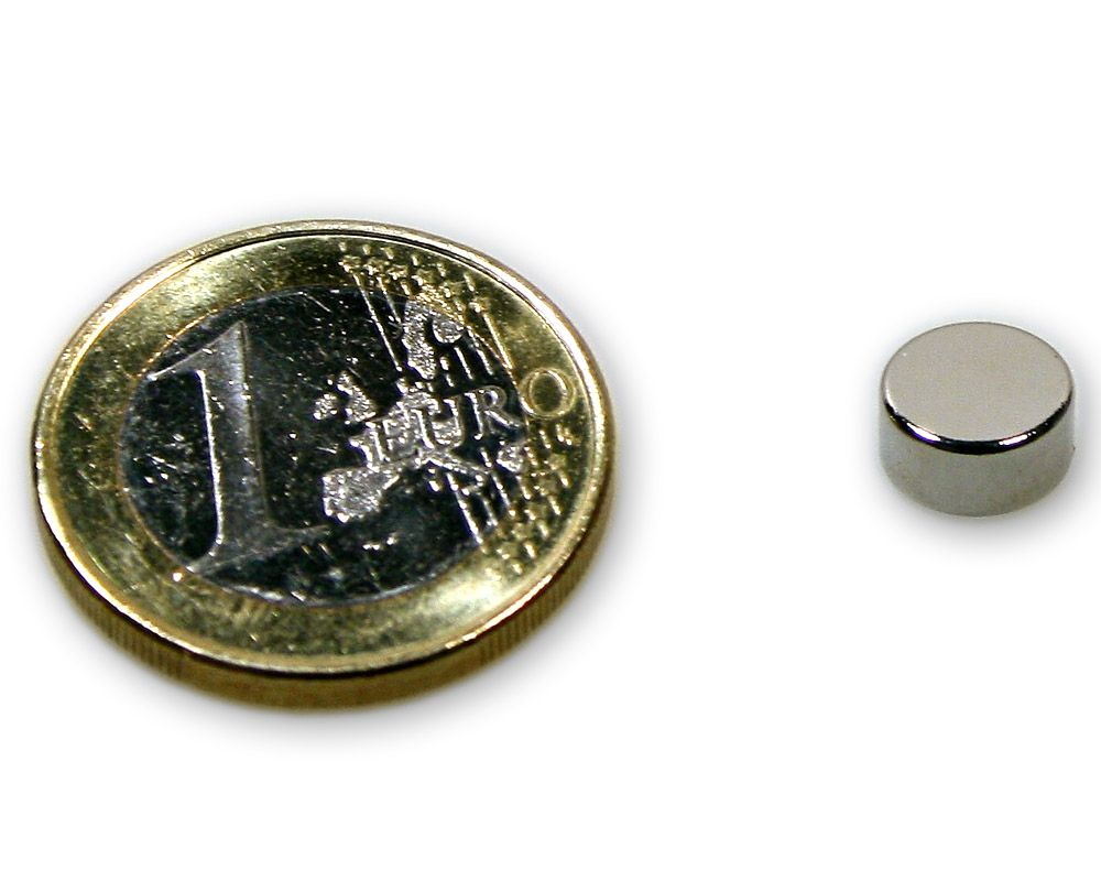 Scheibenmagnet Ø 8,0 x 4,0 mm Neodym N45 vernickelt - hält 2,2 kg