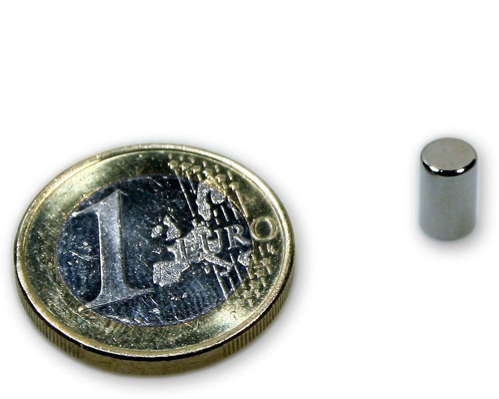 Stabmagnet Ø 5,0 x 8,0 mm Neodym N45 vernickelt - hält 900 g