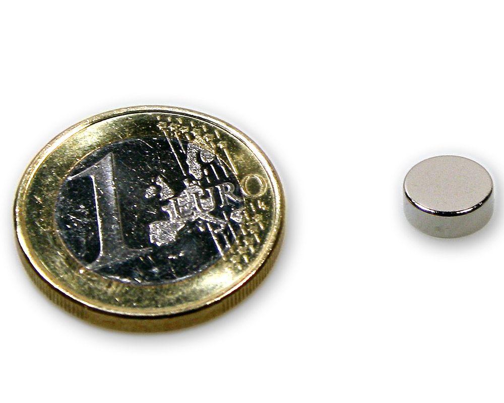 Scheibenmagnet Ø 8,0 x 3,0 mm Neodym N45 vernickelt - hält 1,7 kg