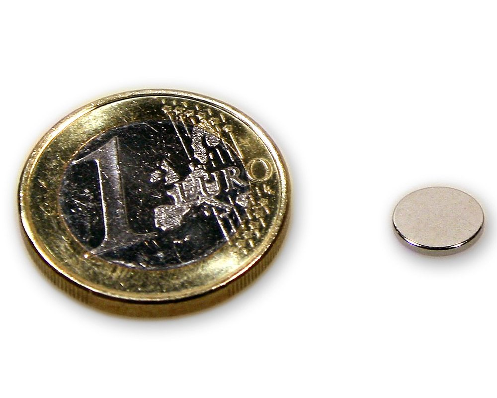 Scheibenmagnet Ø 8,0 x 1,0 mm Neodym N45 vernickelt - hält 700 g