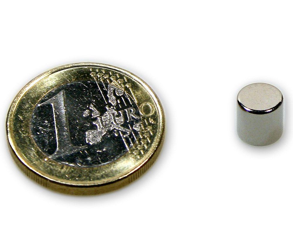 Scheibenmagnet Ø 7,0 x 7,0 mm Neodym N45 vernickelt - hält 1,9 kg