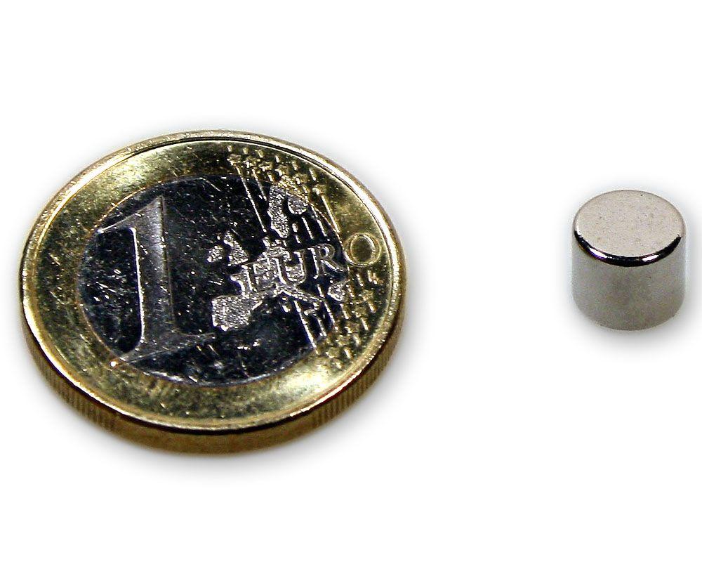 Scheibenmagnet Ø 7,0 x 6,0 mm Neodym N45 vernickelt - hält 1,8 kg
