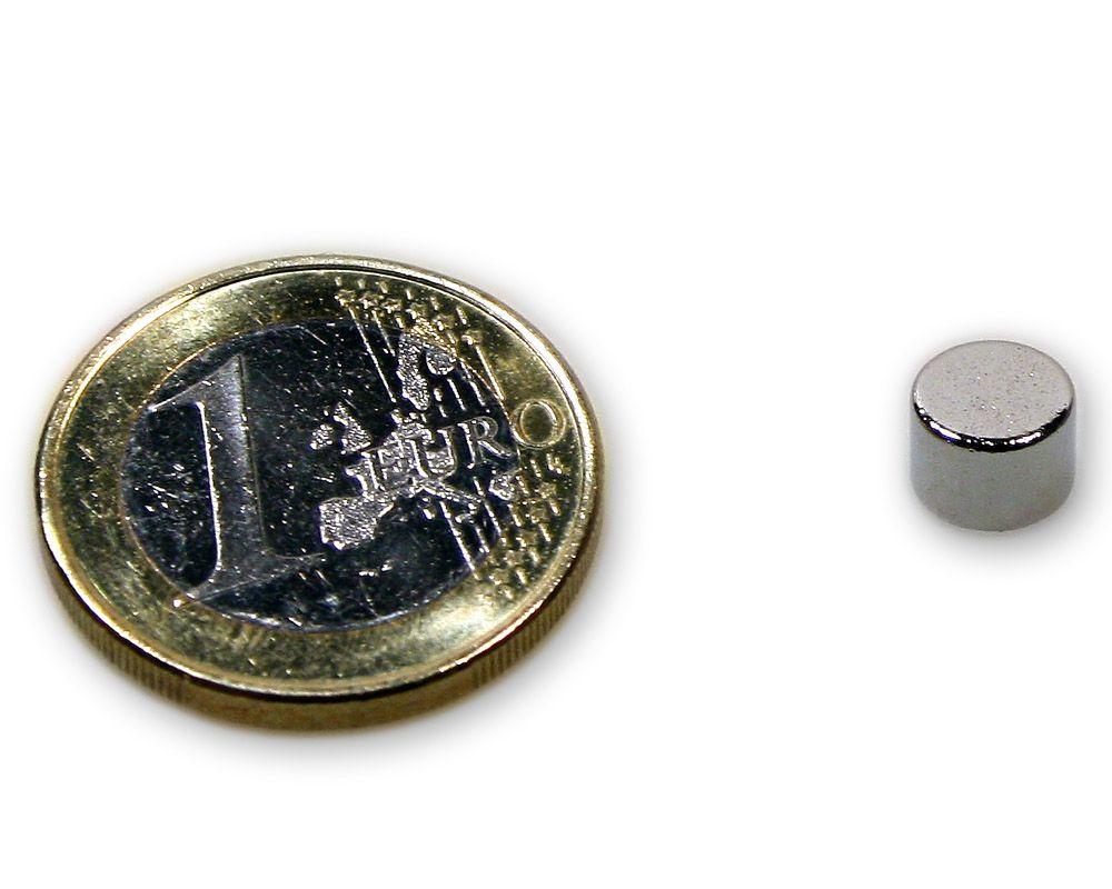 Scheibenmagnet Ø 7,0 x 5,0 mm Neodym N45 vernickelt - hält 1,7 kg
