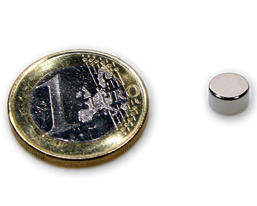 Scheibenmagnet Ø 7,0 x 4,0 mm Neodym N45 vernickelt - hält 1,6 kg