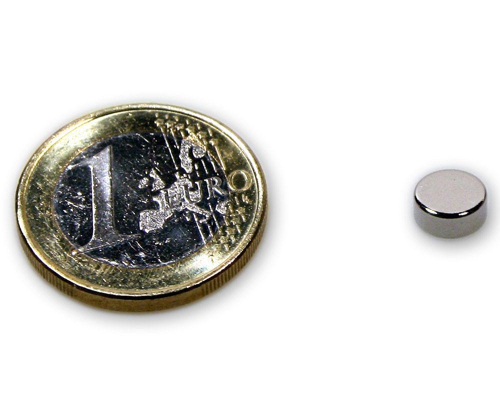 Scheibenmagnet Ø 7,0 x 3,0 mm Neodym N45 vernickelt - hält 1,4 kg