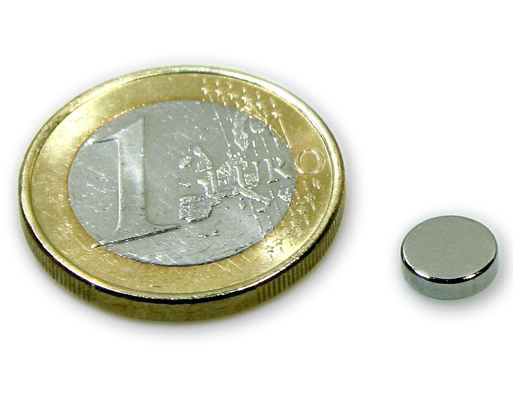 Scheibenmagnet Ø 7,0 x 2,0 mm Neodym N45 vernickelt - hält 1,0 kg