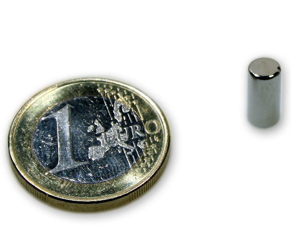 Stabmagnet Ø 5,0 x 10,0 mm Neodym N45 vernickelt - hält 950 g