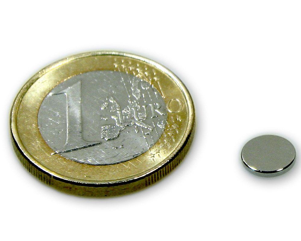Scheibenmagnet Ø 7,0 x 1,0 mm Neodym N45 vernickelt - hält 500 g