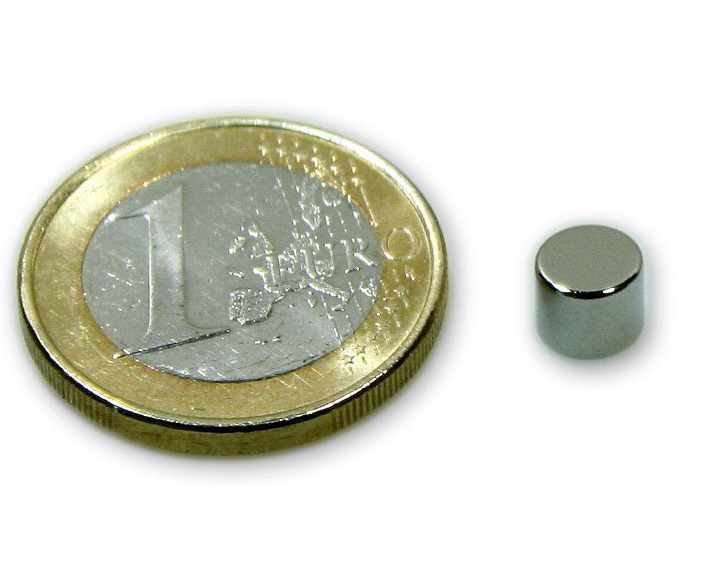 Scheibenmagnet Ø 6,0 x 5,0 mm Neodym N45 vernickelt - hält 1,4 kg