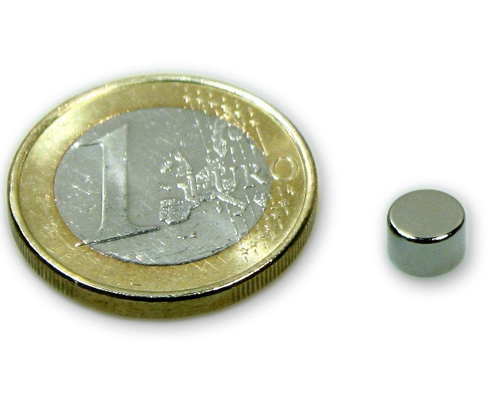 Scheibenmagnet Ø 6,0 x 4,0 mm Neodym N45 vernickelt - hält 1,1 kg