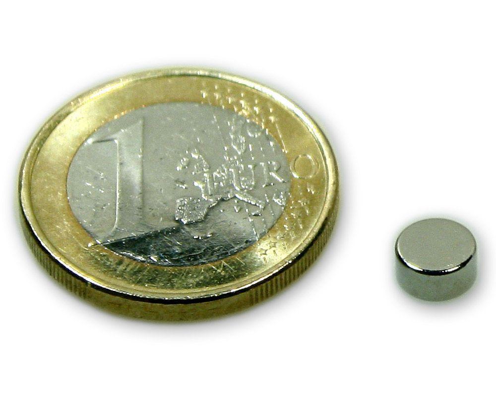Scheibenmagnet Ø 6,0 x 3,0 mm Neodym N45 vernickelt - hält 900 g
