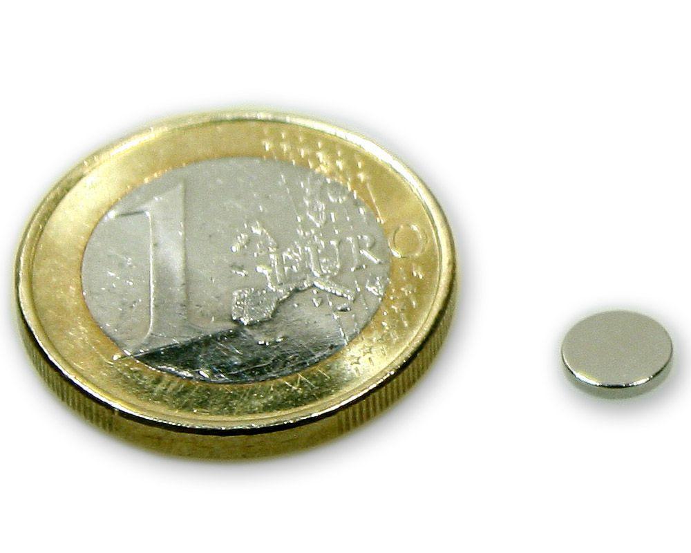 Scheibenmagnet Ø 6,0 x 1,0 mm Neodym N45 vernickelt - hält 300 g