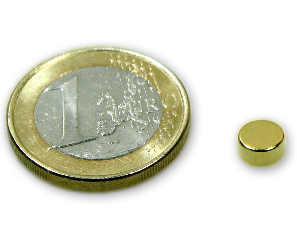 Scheibenmagnet Ø 6,0 x 3,0 mm Neodym N45 vergoldet - hält 900 g