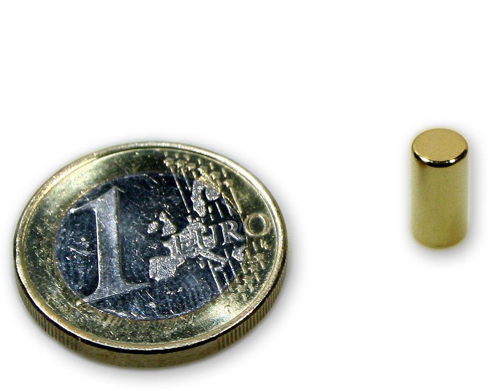 Stabmagnet Ø 5,0 x 10,0 mm Neodym N45 vergoldet - hält 950 g