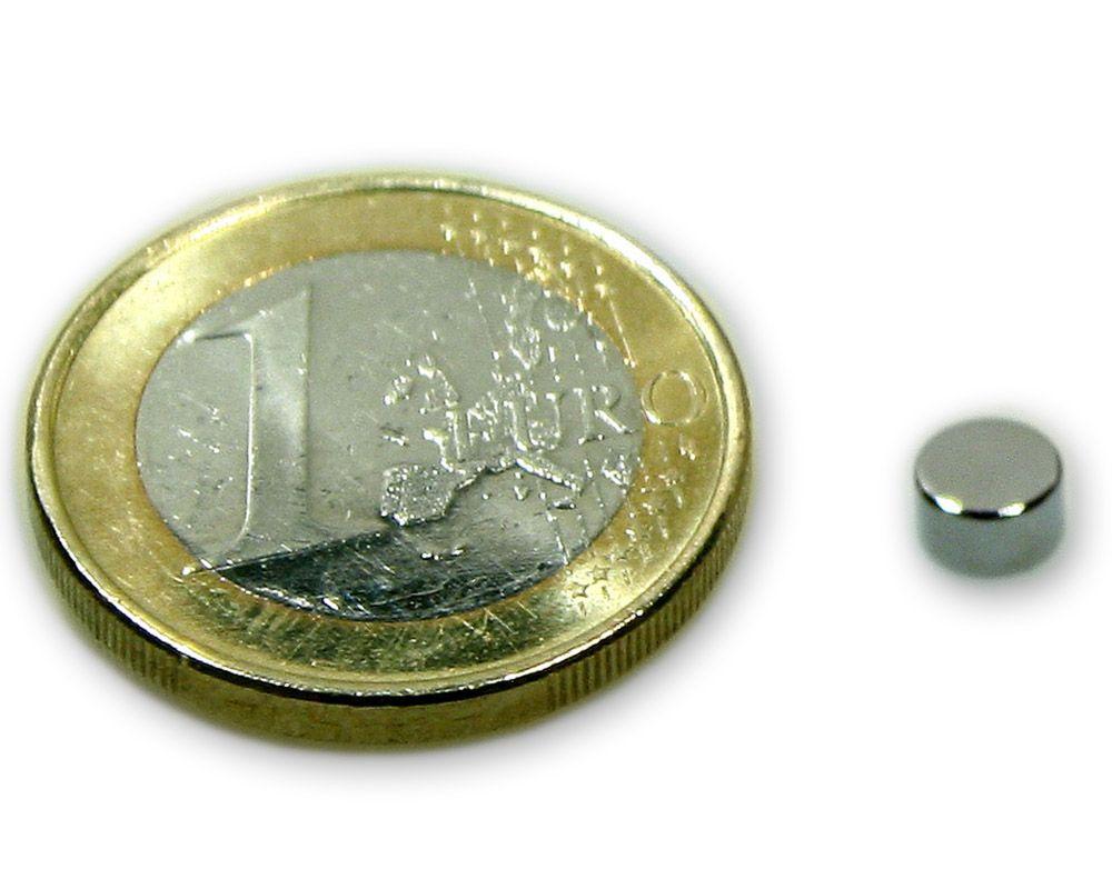 Scheibenmagnet Ø 5,0 x 3,0 mm Neodym N45 vernickelt - hält 900 g