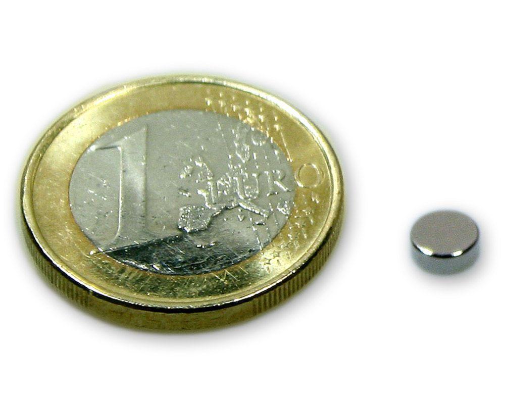 Scheibenmagnet Ø 5,0 x 2,0 mm Neodym N45 vernickelt - hält 700 g