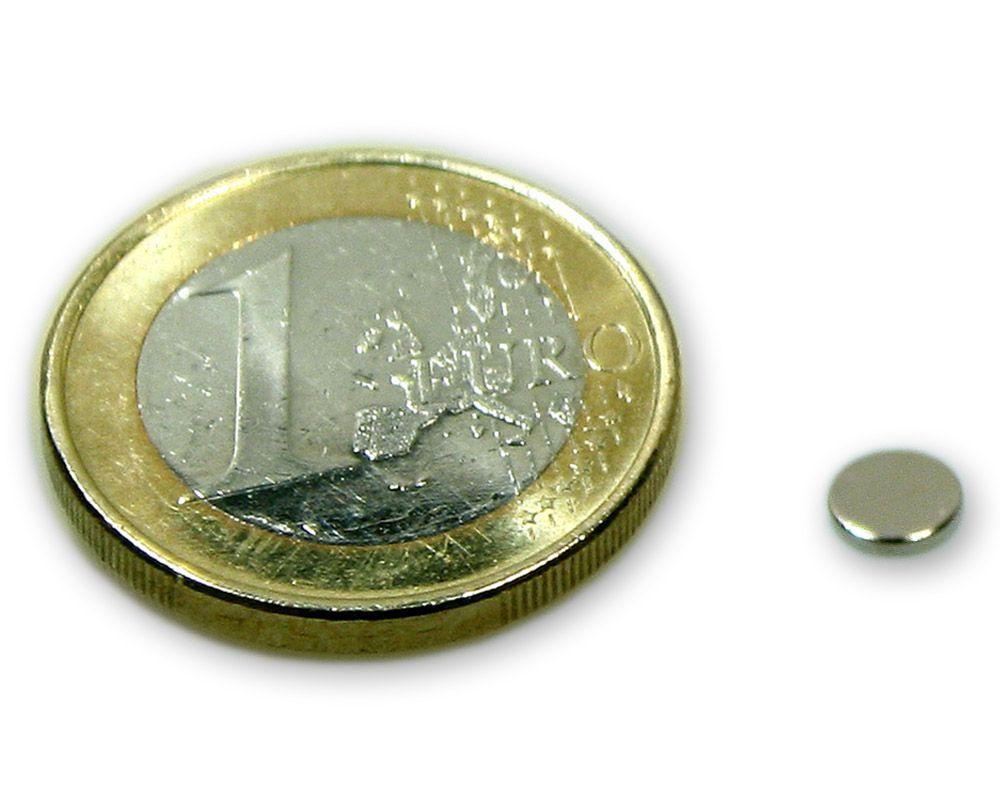 Scheibenmagnet Ø 5,0 x 1,0 mm Neodym N45 vernickelt - hält 300 g