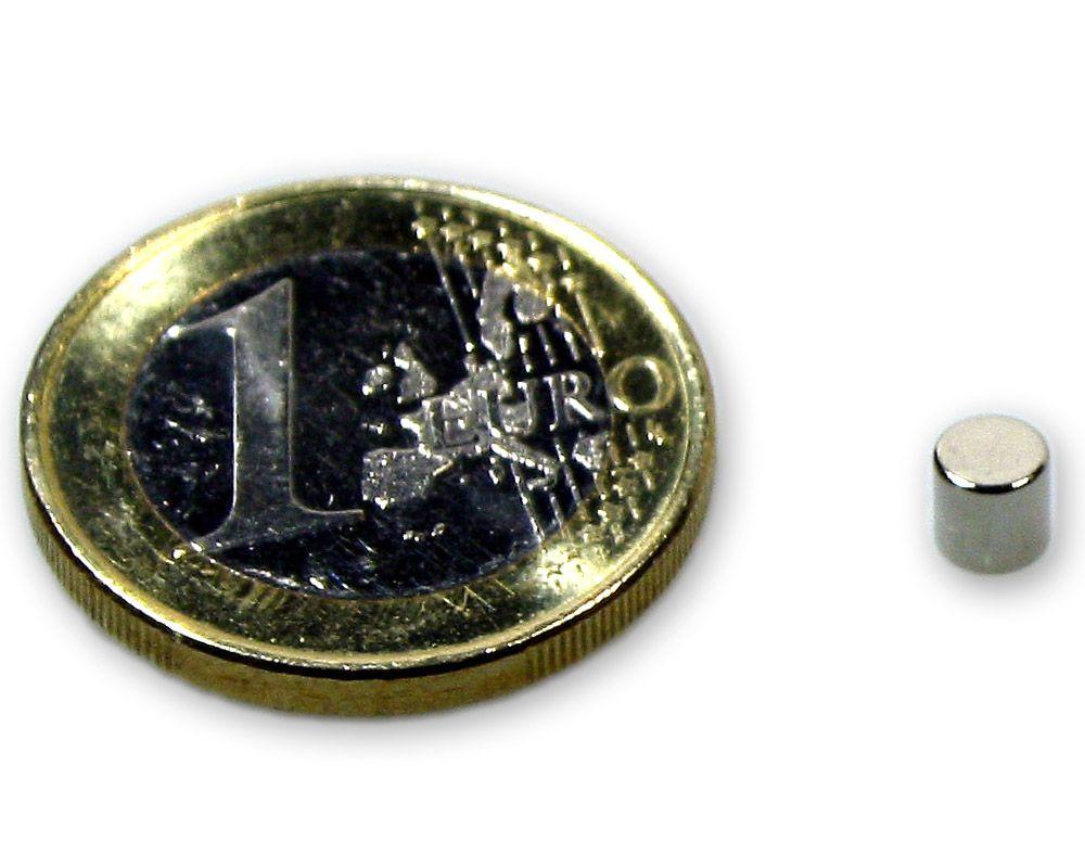 Scheibenmagnet Ø 4,0 x 4,0 mm Neodym N45 vernickelt - hält 700 g