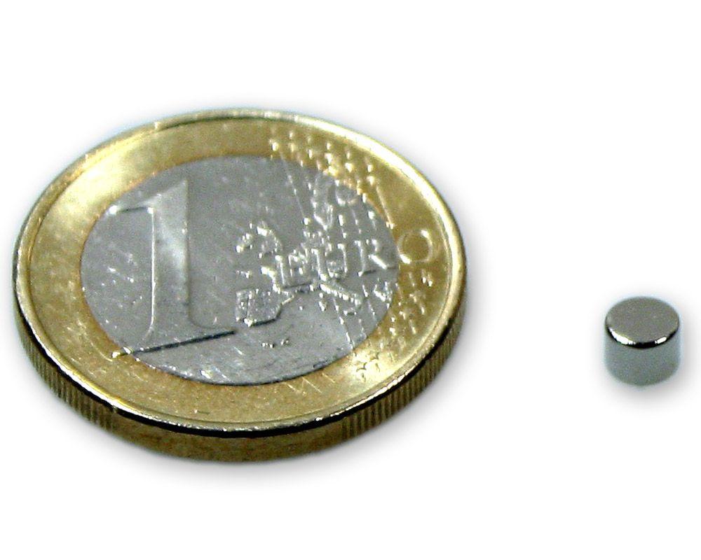 Scheibenmagnet Ø 4,0 x 3,0 mm Neodym N45 vernickelt - hält 500 g