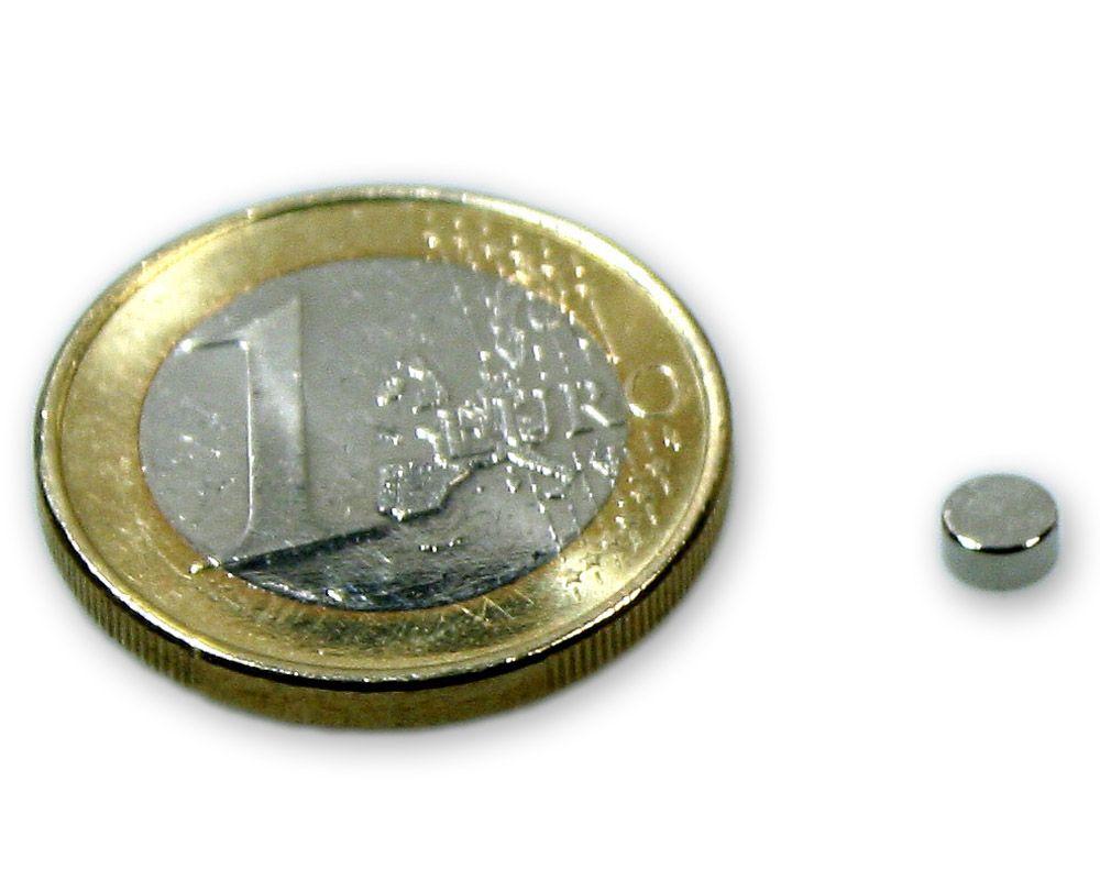 Scheibenmagnet Ø 4,0 x 2,0 mm Neodym N45 vernickelt - hält 450 g