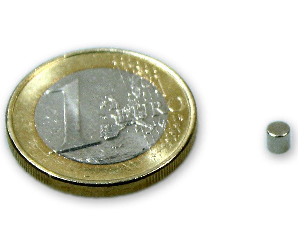 Scheibenmagnet Ø 3,0 x 3,0 mm Neodym N45 vernickelt - hält 500 g