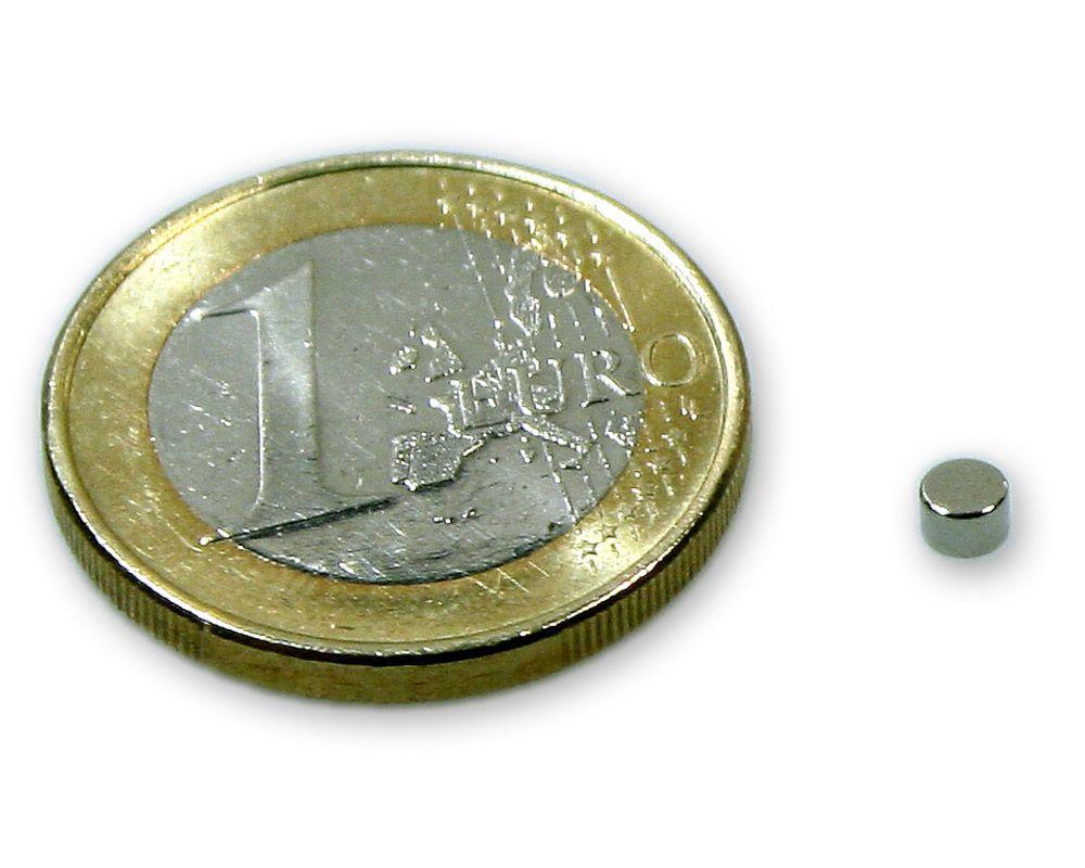 Scheibenmagnet Ø 3,0 x 2,0 mm Neodym N45 vernickelt - hält 350 g