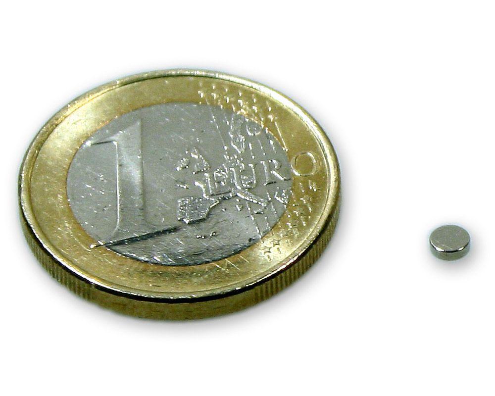 Scheibenmagnet Ø 3,0 x 1,0 mm Neodym N45 vernickelt - hält 200 g