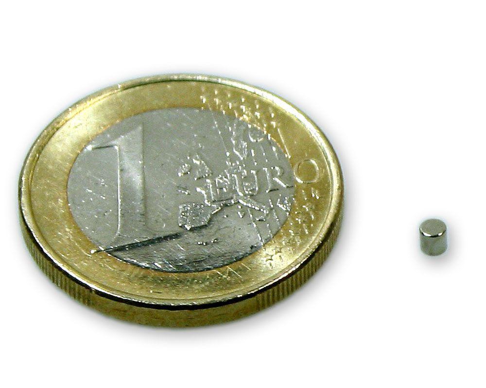 Scheibenmagnet Ø 2,0 x 2,0 mm Neodym N45 vernickelt - hält 250 g