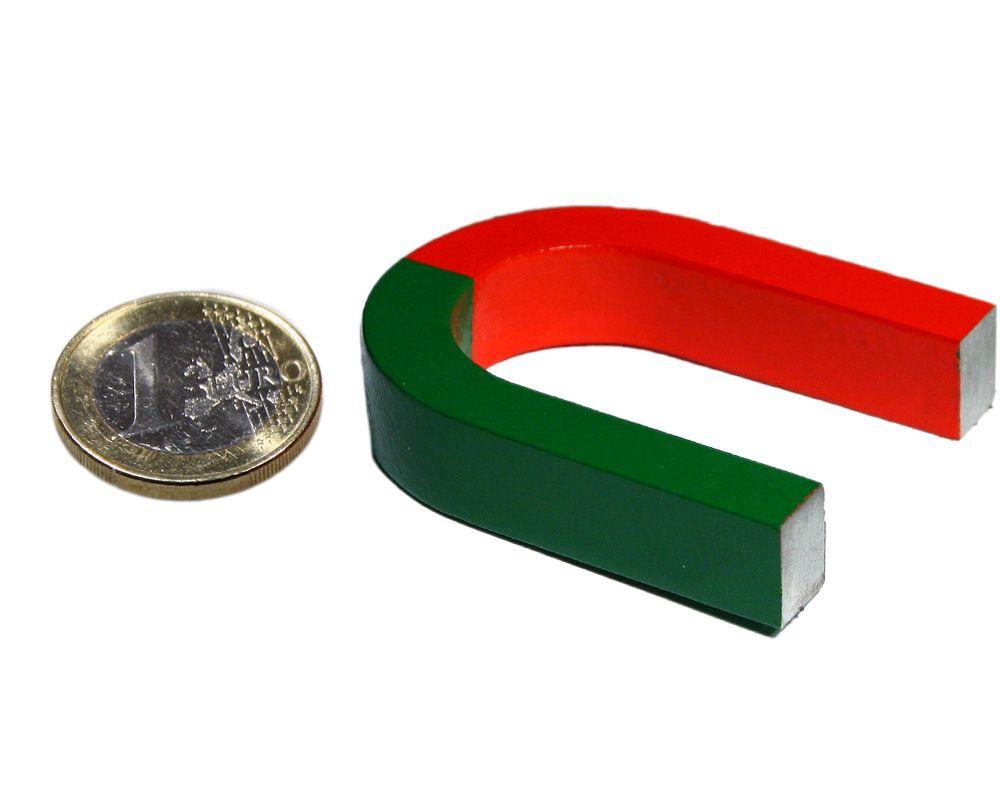 Hufeisenmagnet 50 x 40 x 10 mm - rot/grün - AlNiCo