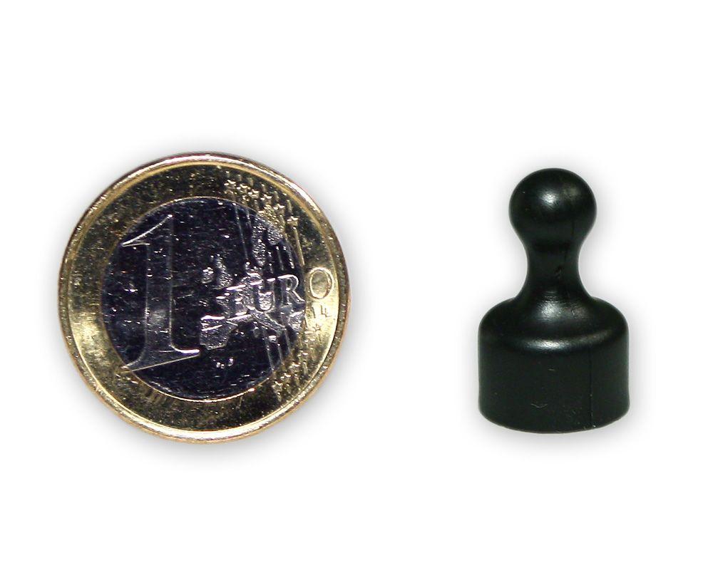 Kleiner Kegelmagnet Ø 12 mm schwarz - hält 1,6 kg