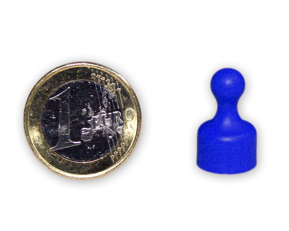 Kleiner Kegelmagnet Ø 12 mm blau - hält 1,6 kg