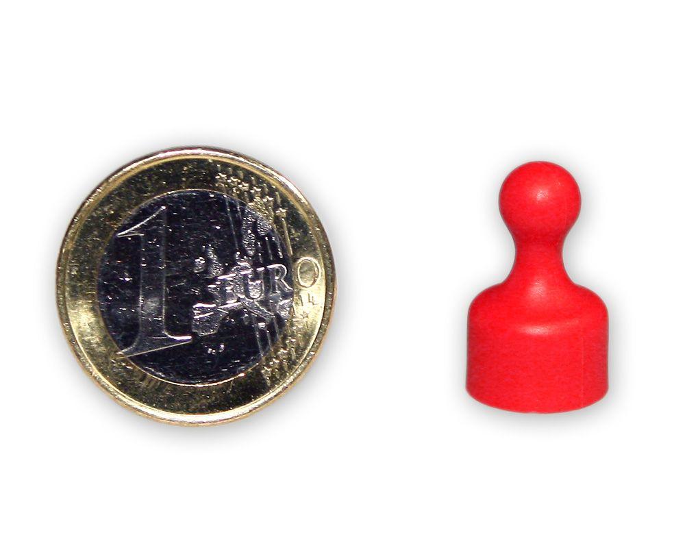 Kleiner Kegelmagnet Ø 12 mm rot - hält 1,6 kg
