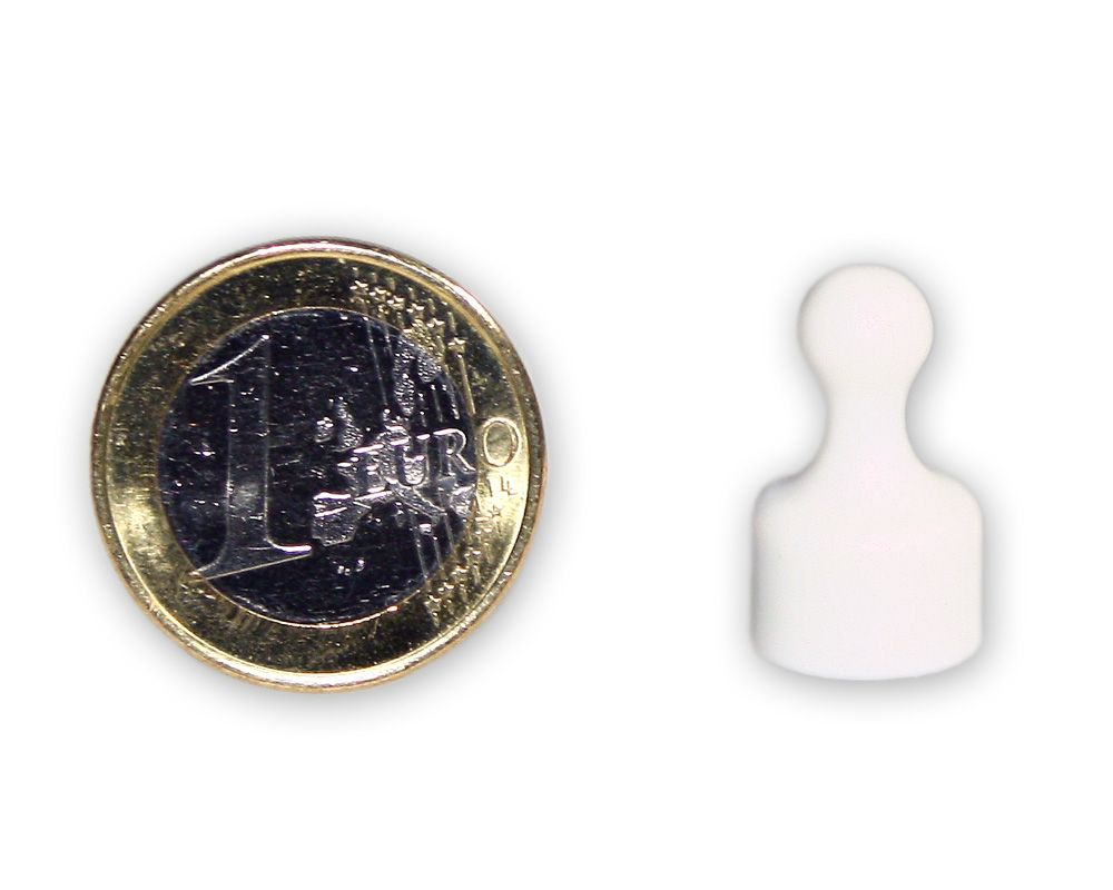 Kleiner Kegelmagnet Ø 12 mm weiss - hält 1,6 kg